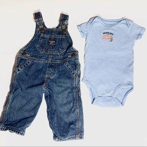 Boys Osh Kosh denim overalls & Carter's body suit